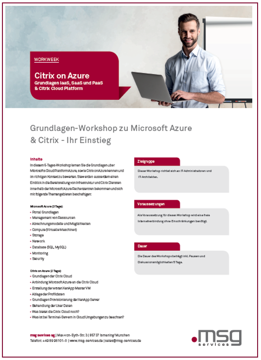 Flyer Deckblatt Citrix on Azure